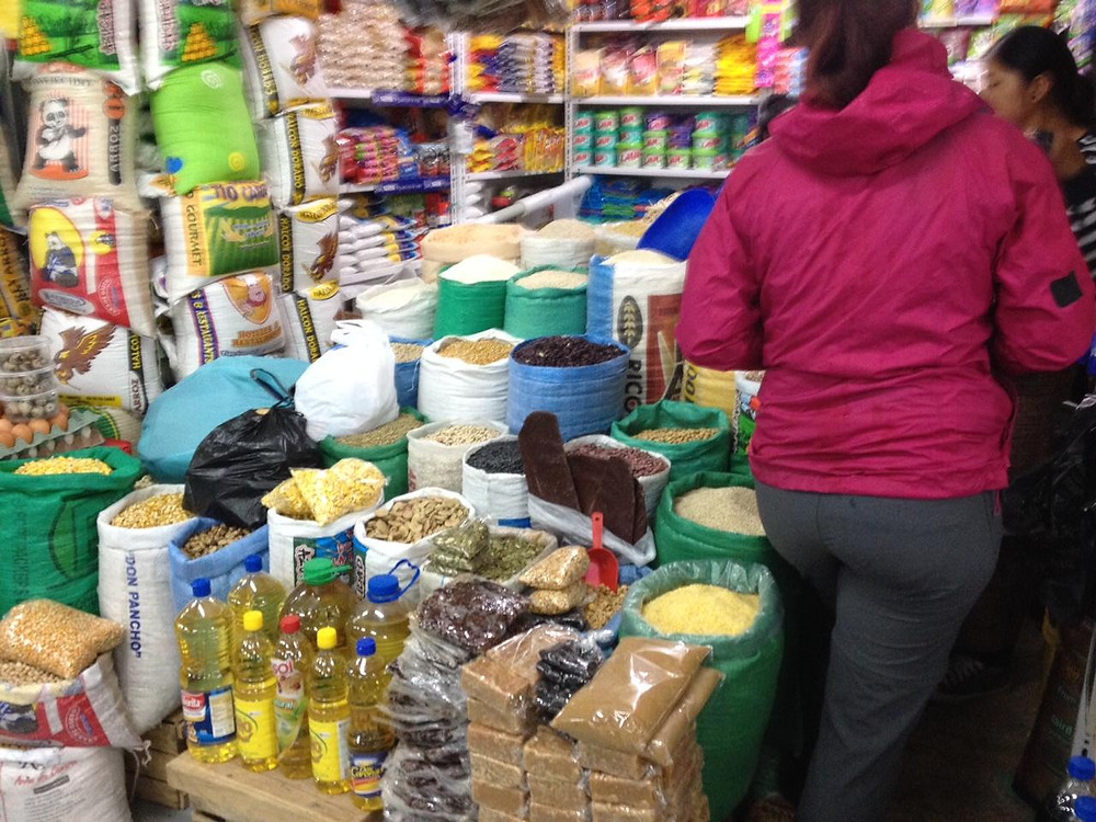 Otavalo indoor market - a good way to buy pasta, rice and pulses.