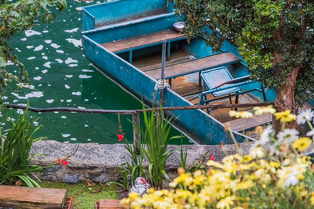 The boat at the hostal in Huancaya, ready for collecting trout