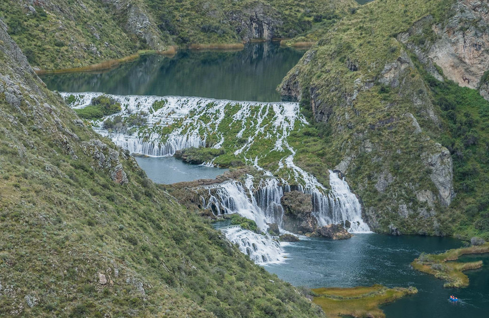Waterfalls from lake to lake between Vilca and Huancaya