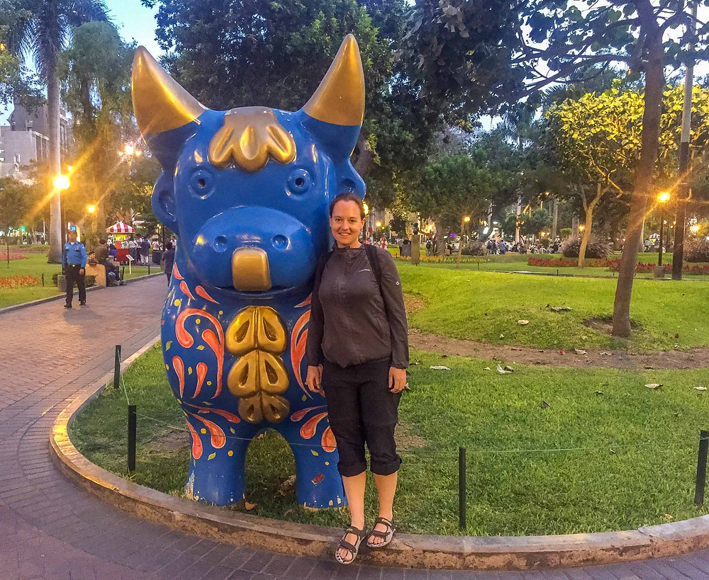 Me at the colourful bull statue in Kennedy park