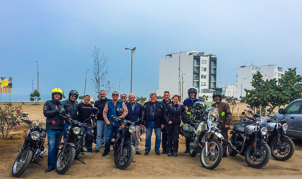 Felipe and the Triumph motorcycle group from Lima in Punta Hermosa.