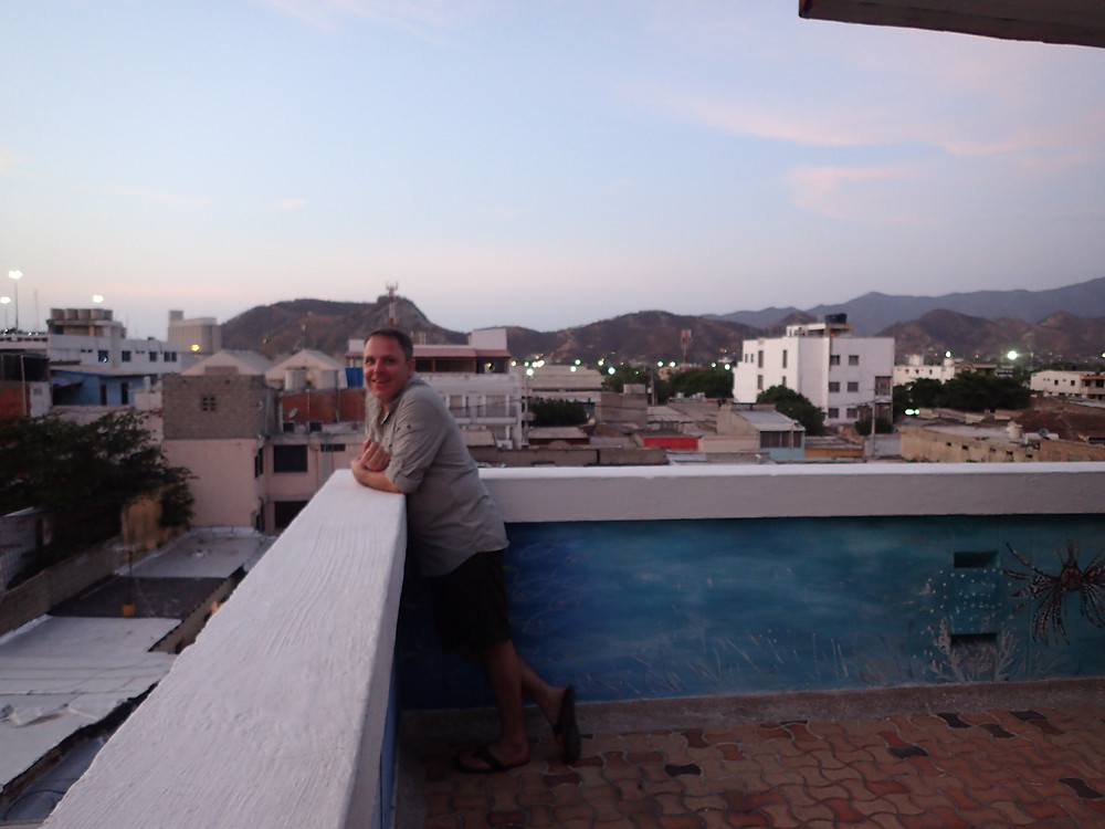 Kelvin on Hotel Real terrace, Santa Marta