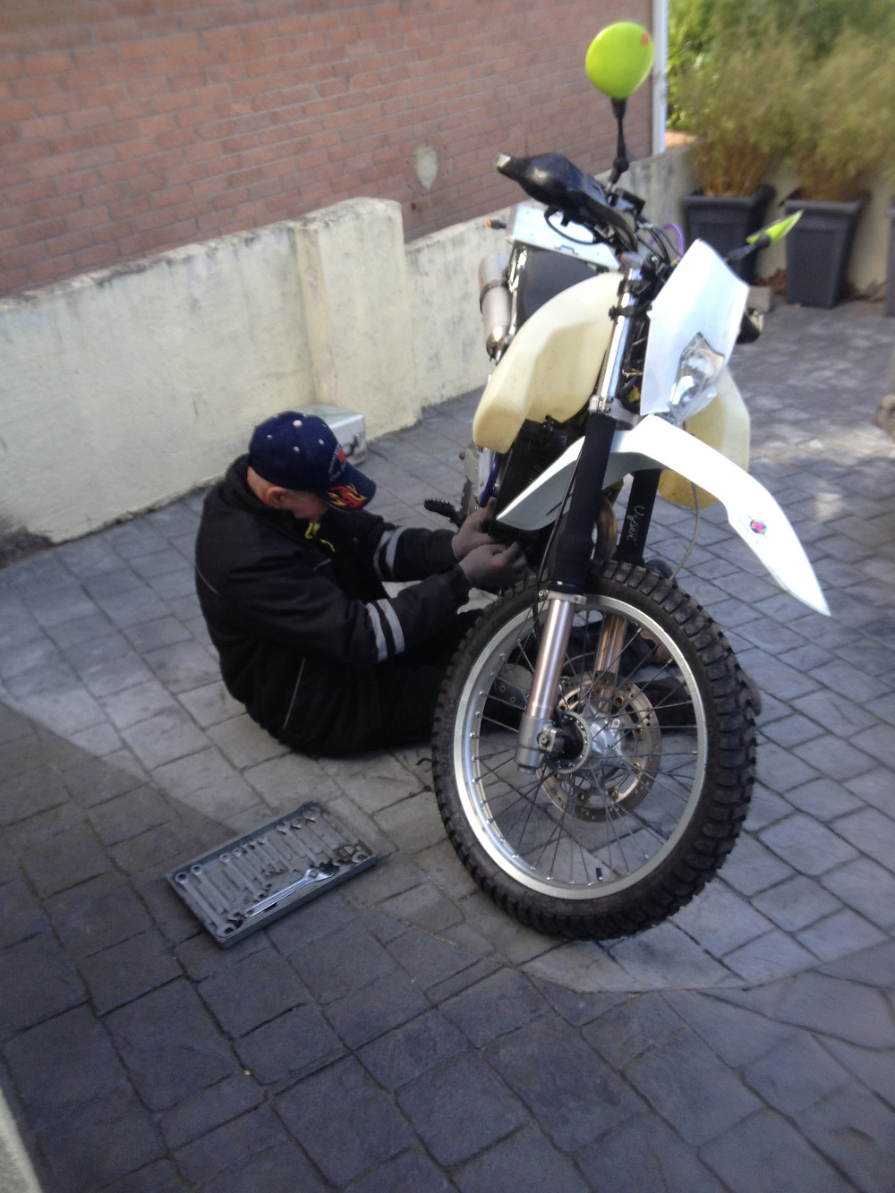 Rob tinkering with the oil cooler