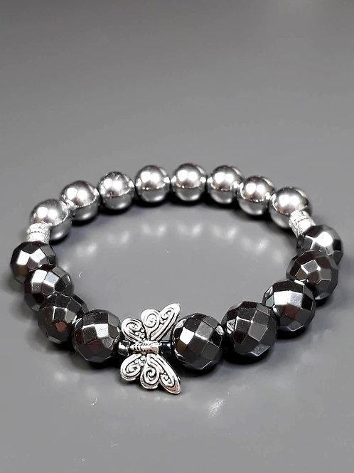 hematite, butterfly bracelet
