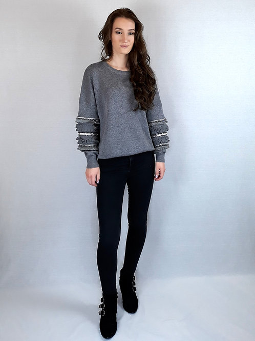 grey sequin trimming sleeve knitted jumper