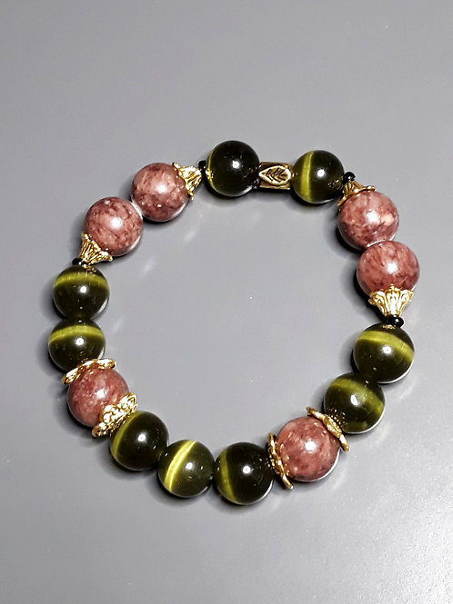 green tiger's eye & marble bracelet