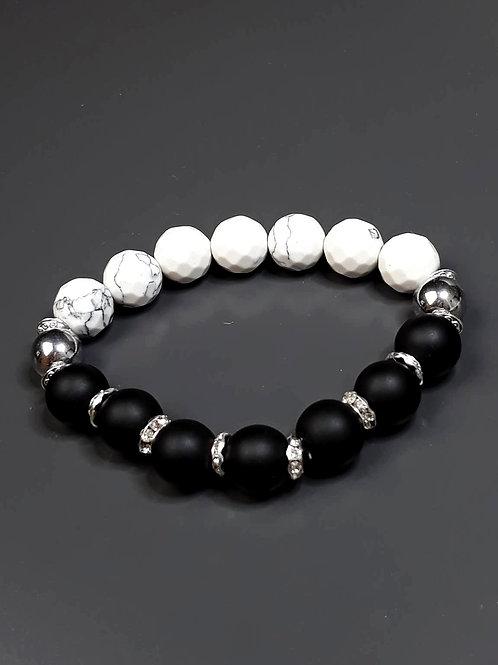 shungite, howlite & hematite bracelet