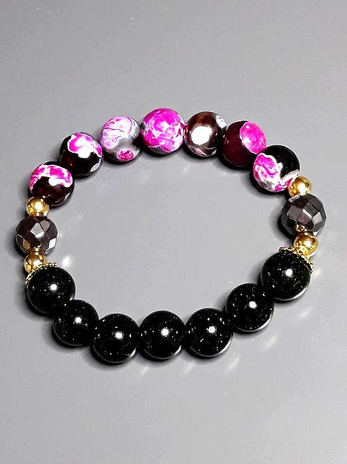 nile emerald, agate & hematite bracelet