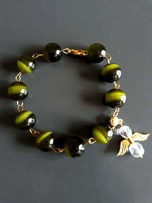 tigers eye stone, angel charm bracelet