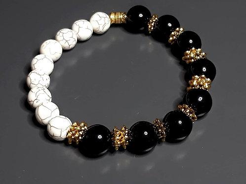 onyx & howlite bracelet