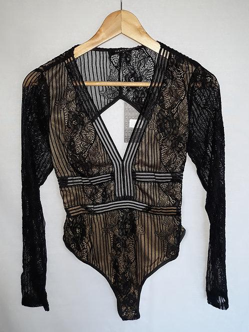 black long sleeve lace backless bodysuit