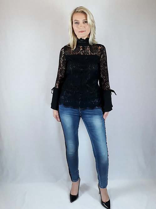 black lace long-sleeve top