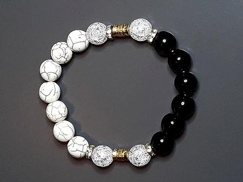 onyx, howlite & mountain crystal bracelet