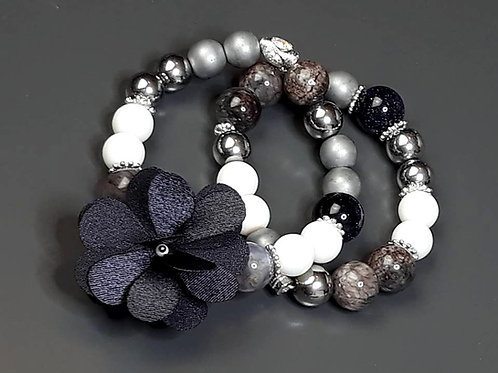kairo night,white jade, hematite & agate flower charm bracelet set