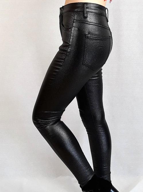 black glitter effect faux leather pants