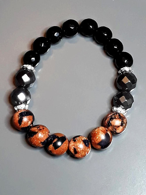 sun & kairo mix, onyx & hematite bracelet