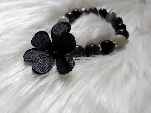 grey flower charm, amazonite, onyx, marble & hematite stone bracelet