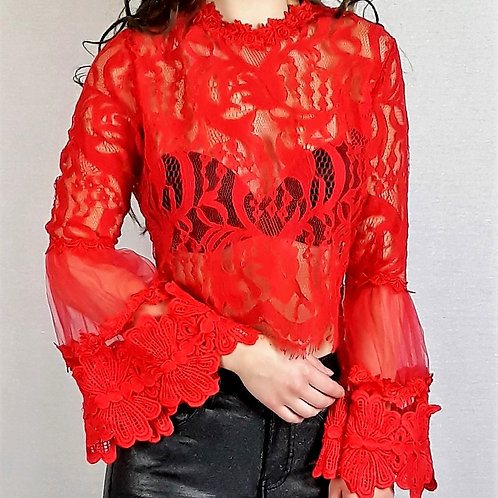 red lace long-sleeve crop top