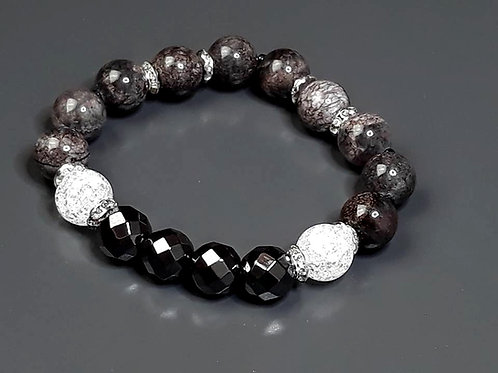 marble, hematite & mountain crystal bracelet