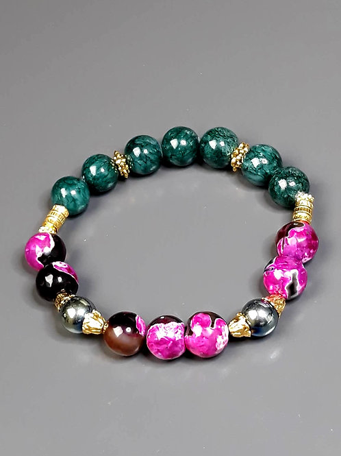 malachite, agate & hematite bracelet