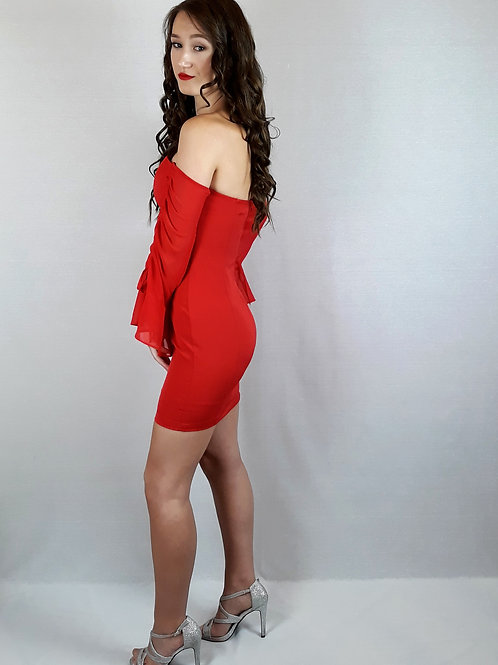 red ruched sleeve dress