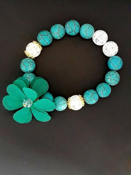 turquoise & mountain crystal, flower charm bracelet
