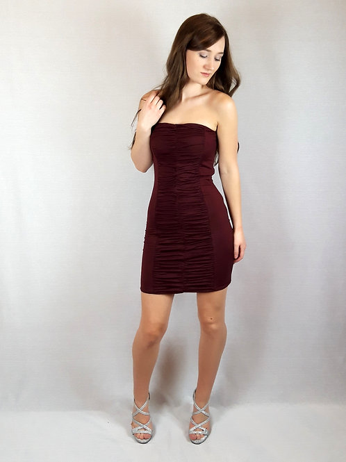 burgundy ruchet bodycon dress