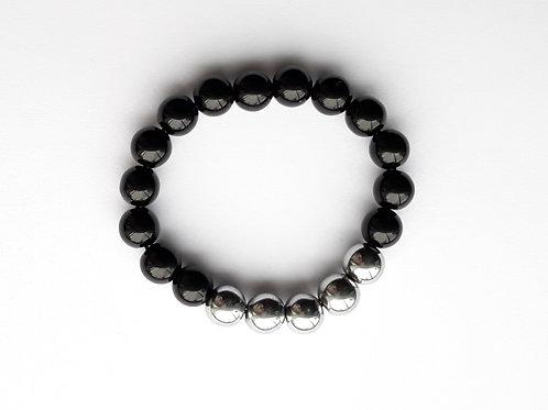 onyx and hematite mens bracelet