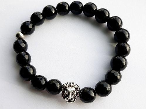 lion charm onyx mens bracelet