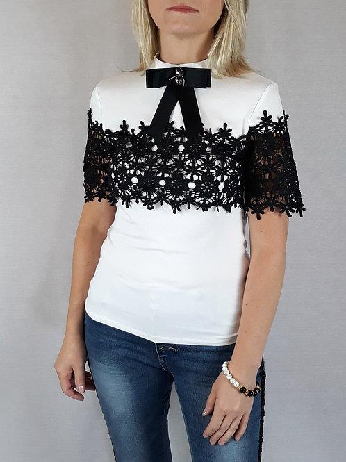 black crochet detail white t-shirt