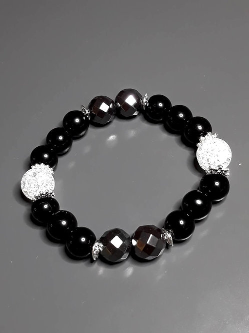 onyx, hematite & mountain crystal bracelet