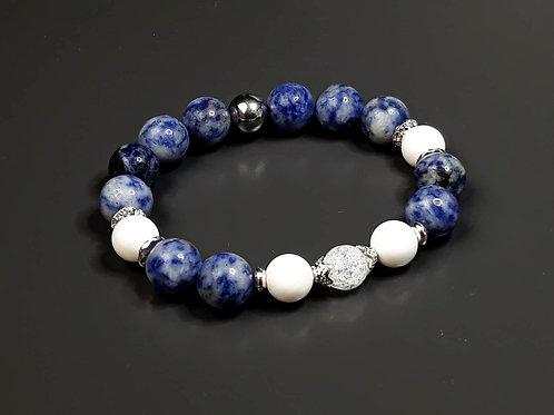 sodalite, white jade, hematite & mountain crystal bracelet