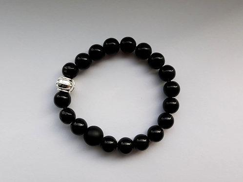 onyx and shungite mens bracelet