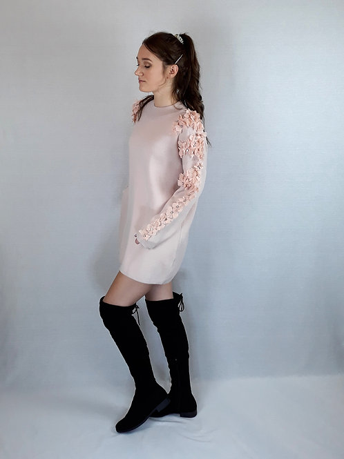 flower & stone sleeve knitted jumper pink