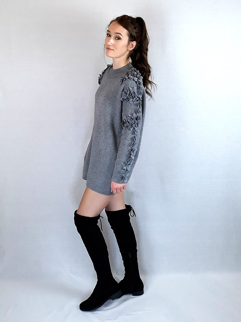 flower & stone sleeve knitted jumper grey
