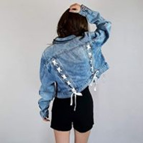 lace-up bow detail denim jacket