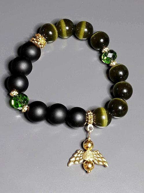 green tiger's eye & matte black shungite charm bracelet