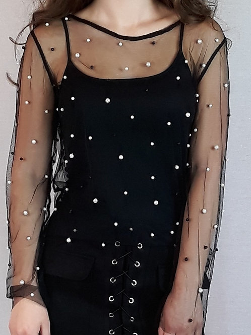 mesh beaded long-sleeve top