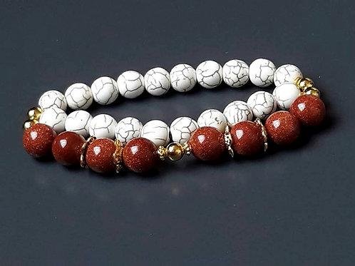 sunstone & howlite, double bracelet