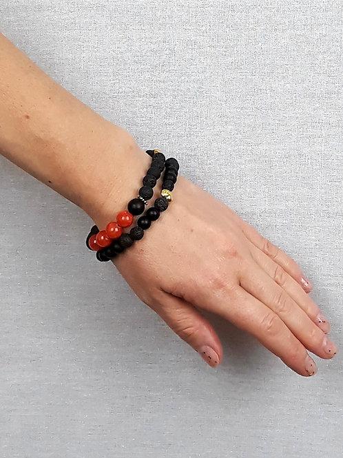 red jade, lava rock & shungite bracelet