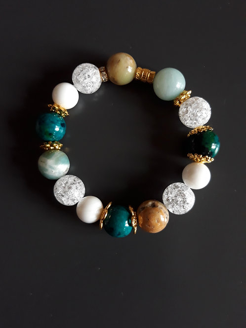 chrysocolla, amazonite, jadeite & mountain crystal stone bracelet