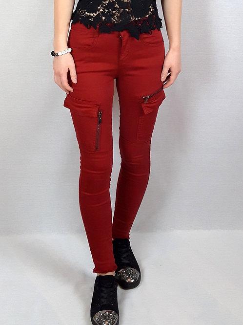 red pocket detail jeans