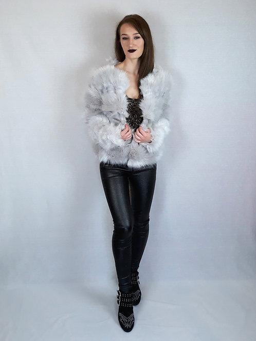 faux fur grey coat