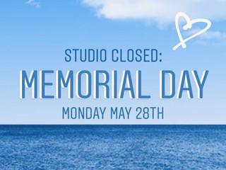 Closed Memorial Day 5/28