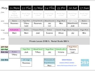 Weekly Schedule 5/21-5/27