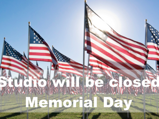 May 30th - Studio will be closed