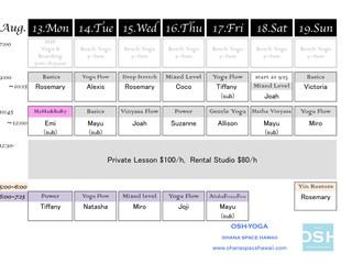 Weekly Schedule 8/13-8/19