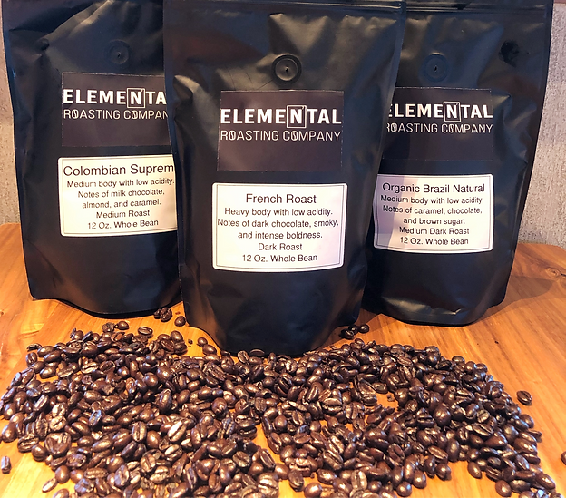 Bags of coffee from Elemental Roasting Company.