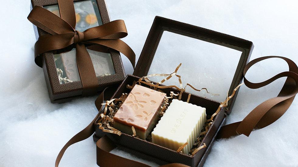 Rigid Brown Gift Box – 2 soaps