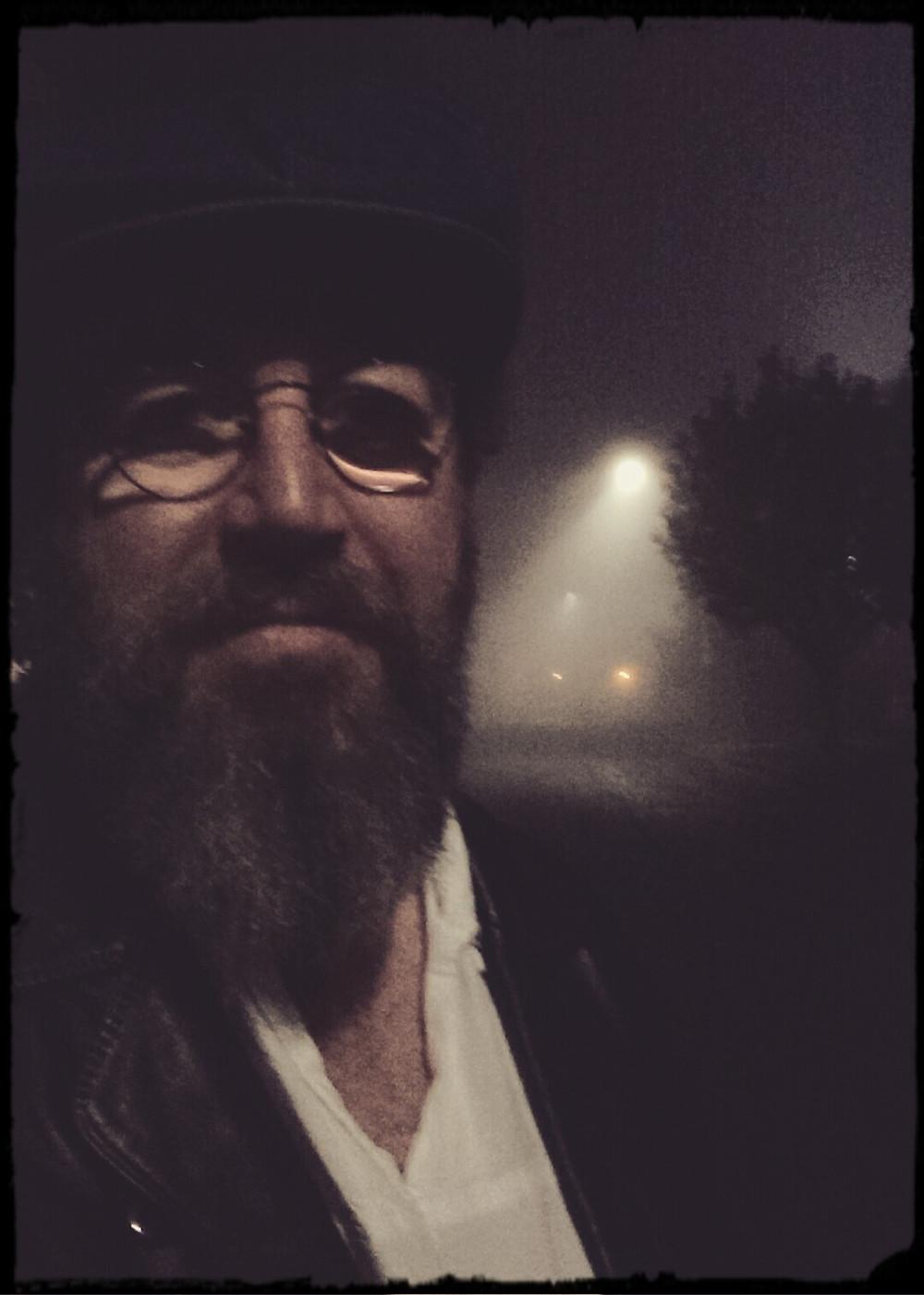 Heshy on a foggy night
